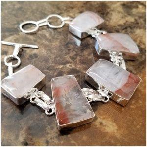 "Jewelry - 8.25"" long Natural Mined Quartz Bracelet"